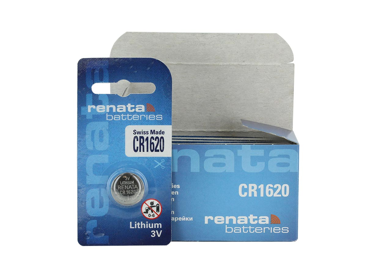 Renata CR1620-CU retail card standing next to the 10 piece bulk box, box is blue, against a white background