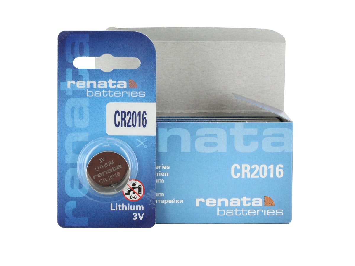 Renata CR2016-CU coin cell retail card standing next to the bulk box of 10 pieces, box is blue, background is white