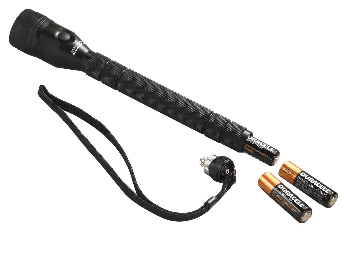 Included accessories for the Streamlight flashlight - including lanyard and batteries