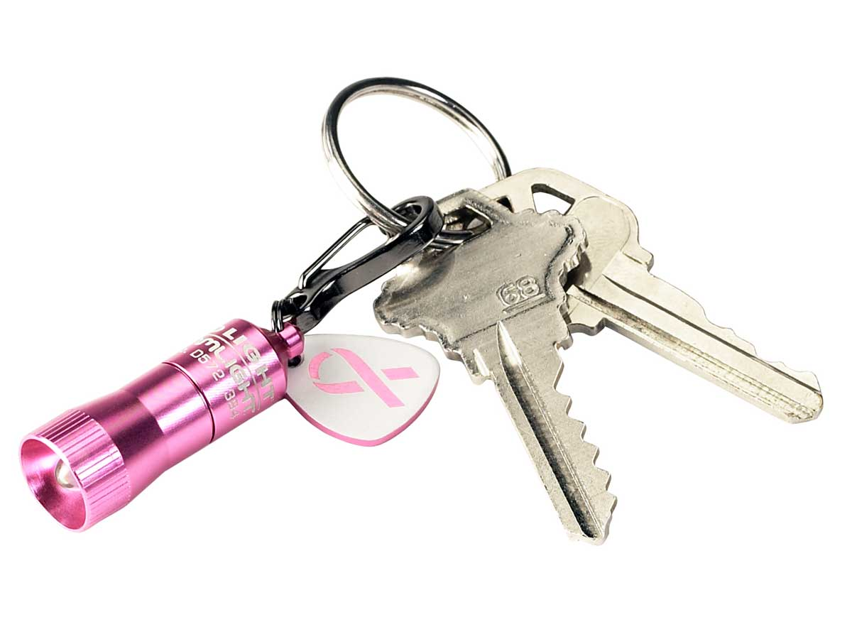 On a key chain - pink