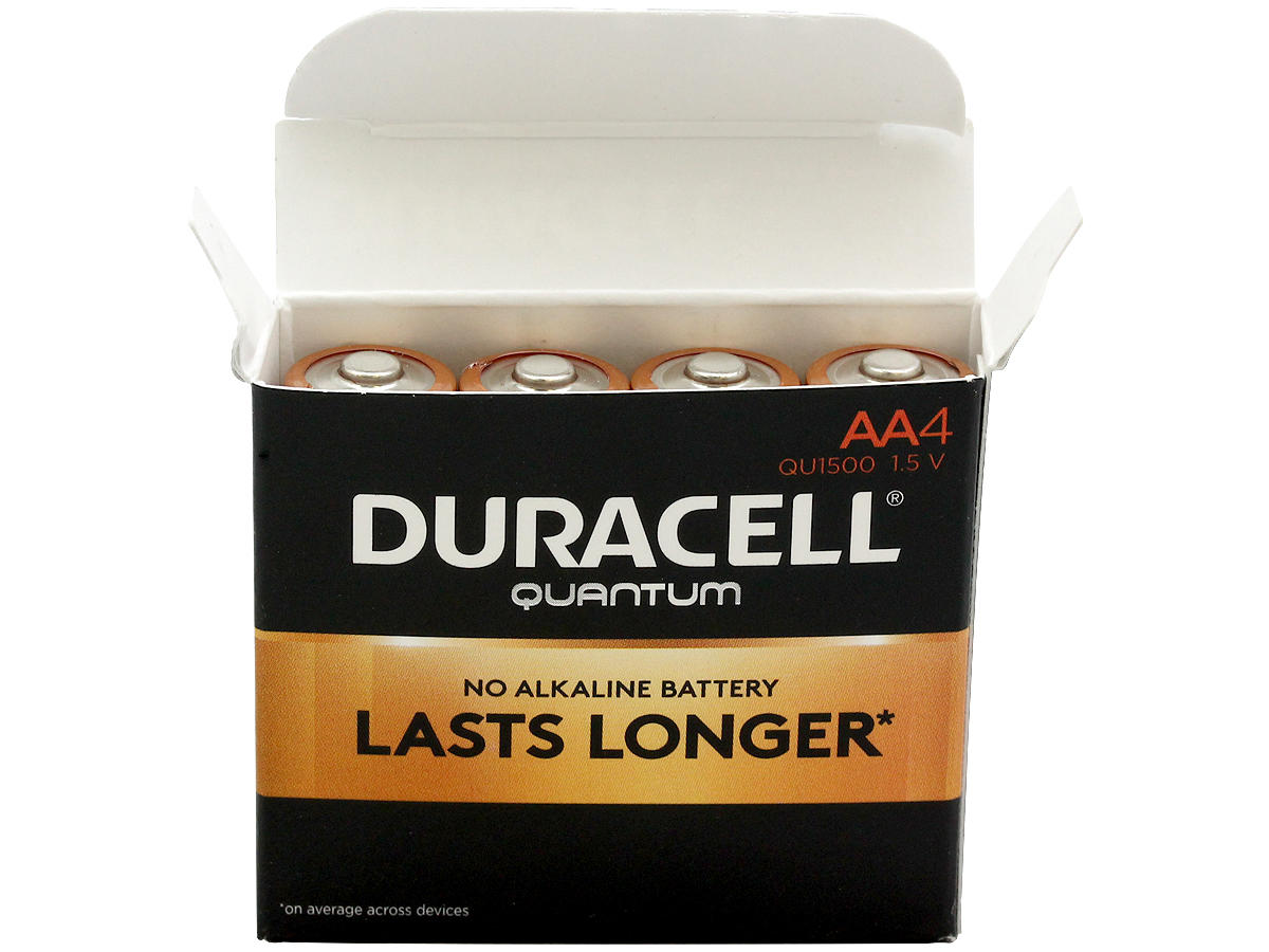 Open Box of 4 Duracell Quantum QU1500 AA Batteries