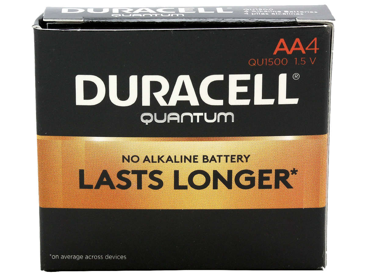 Closed Box of 4 Duracell Quantum QU1500 AA Batteries