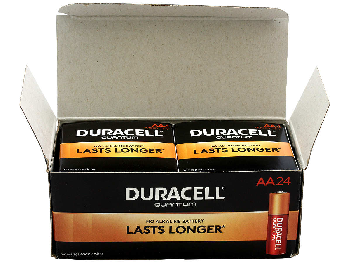 Open Box of 24 Duracell Quantum QU1500 AA Batteries