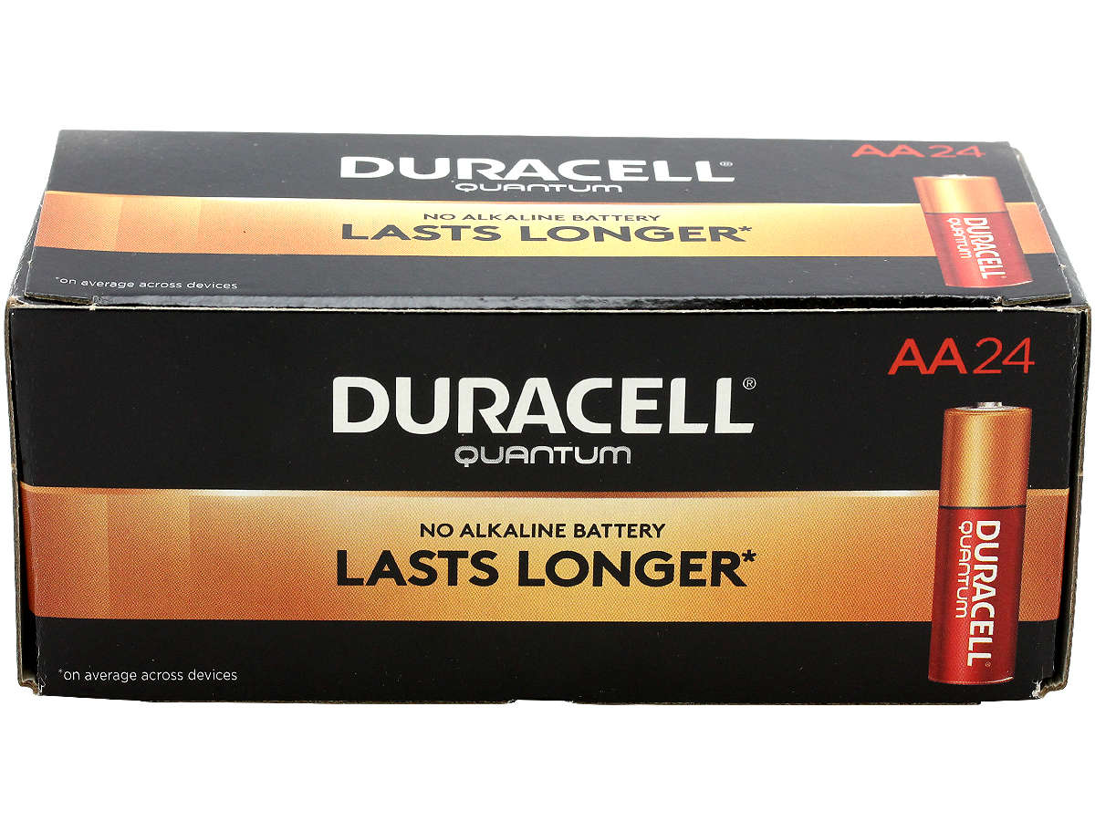 Closed Box of 24 Duracell Quantum QU1500 AA Batteries