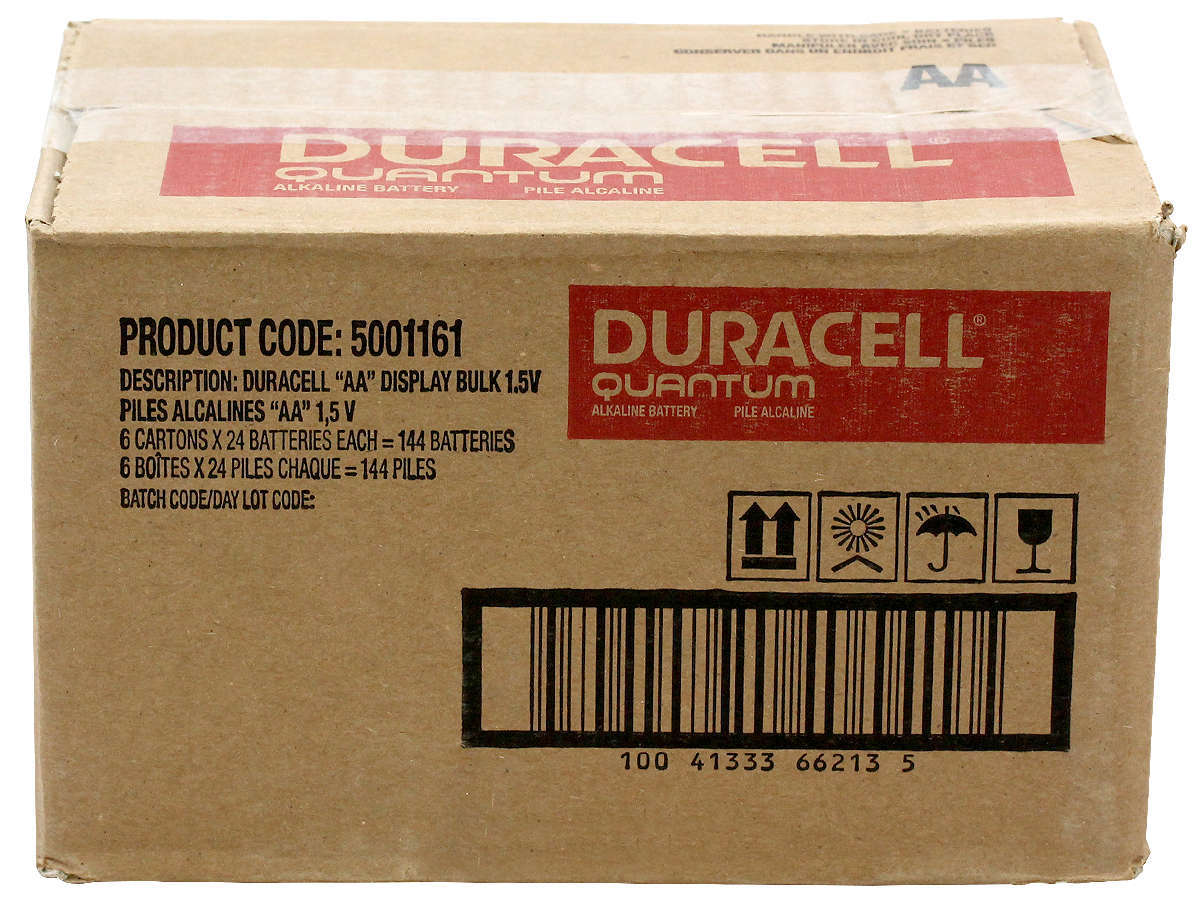 Closed Box of 144 Duracell Quantum QU1500 AA Batteries