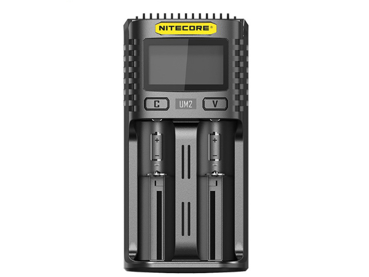 Front view of Nitecore UM2 battery charger