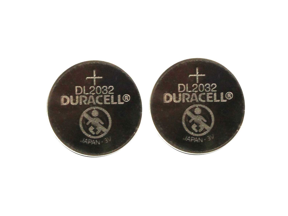 Retail card for 2 pack of Duracell CR2032 coin cells