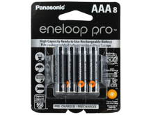 Panasonic Eneloop Pro BK-4HCCA-8BA AAA 950mAh 1.2V Low Self Discharge Nickel Metal Hydride (NiMH) Button Top Batteries - 8 Pack Retail Card
