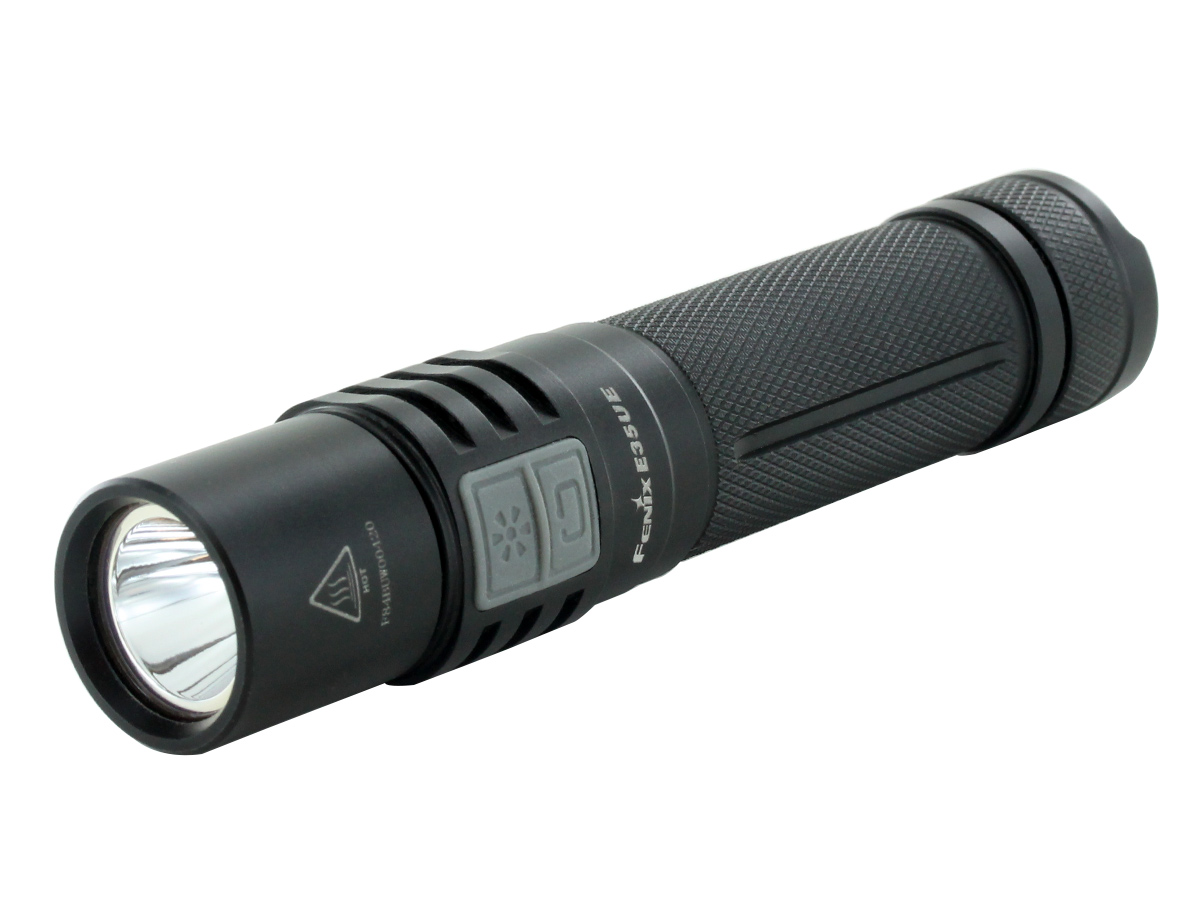 Fenix E35UE flashlight left side angle