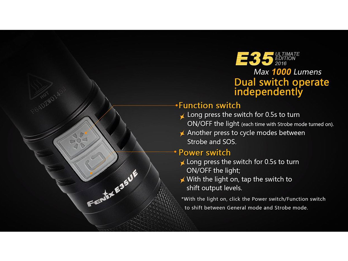 Slide three for Fenix E35UE flashlight