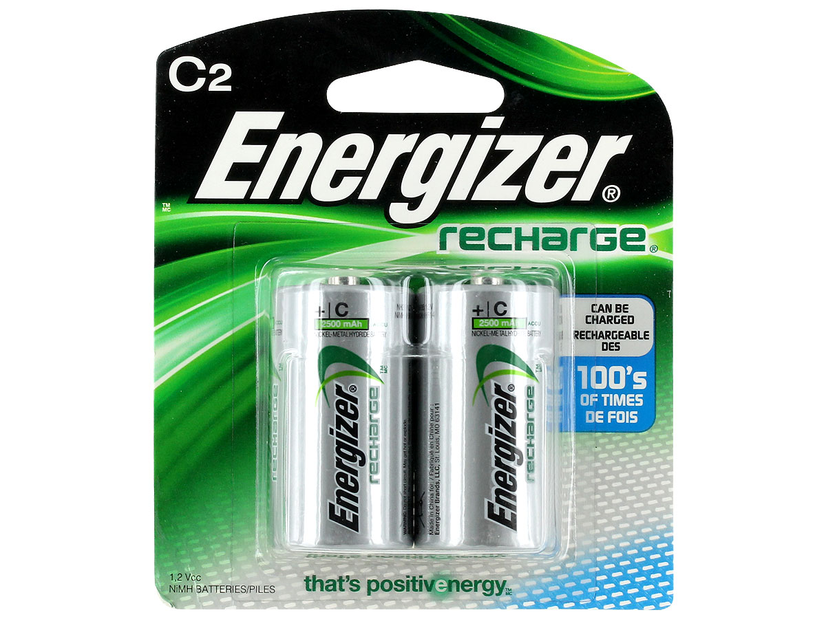 Energizer Recharge C batteries in 2 piece retail card