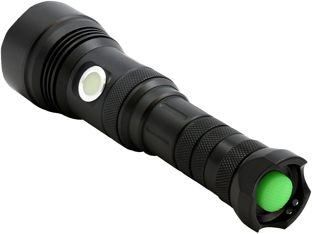 Tailcap Shot of the LumaPower Strive TRX Rechargeable LED Flashlight