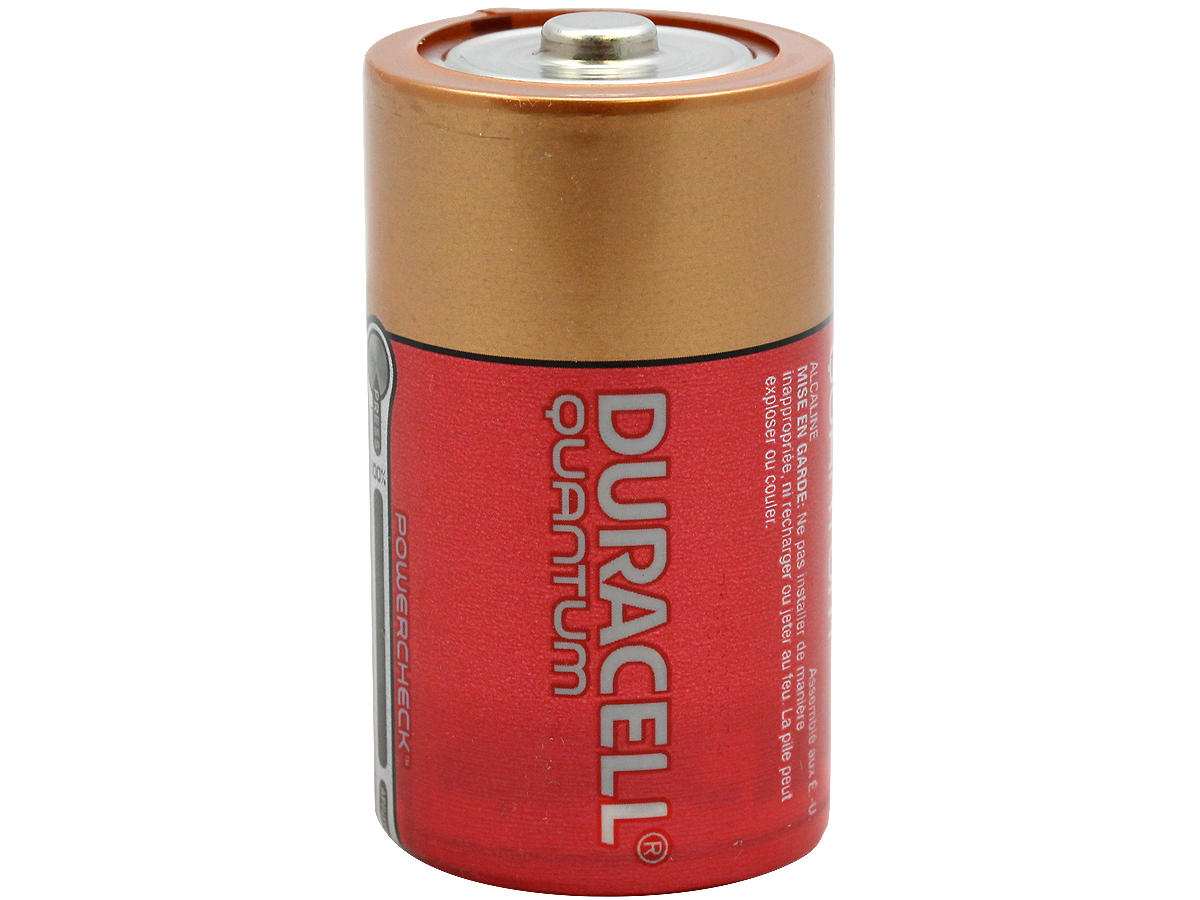 Standing Shot of the Duracell Quantum QU1300 D Battery