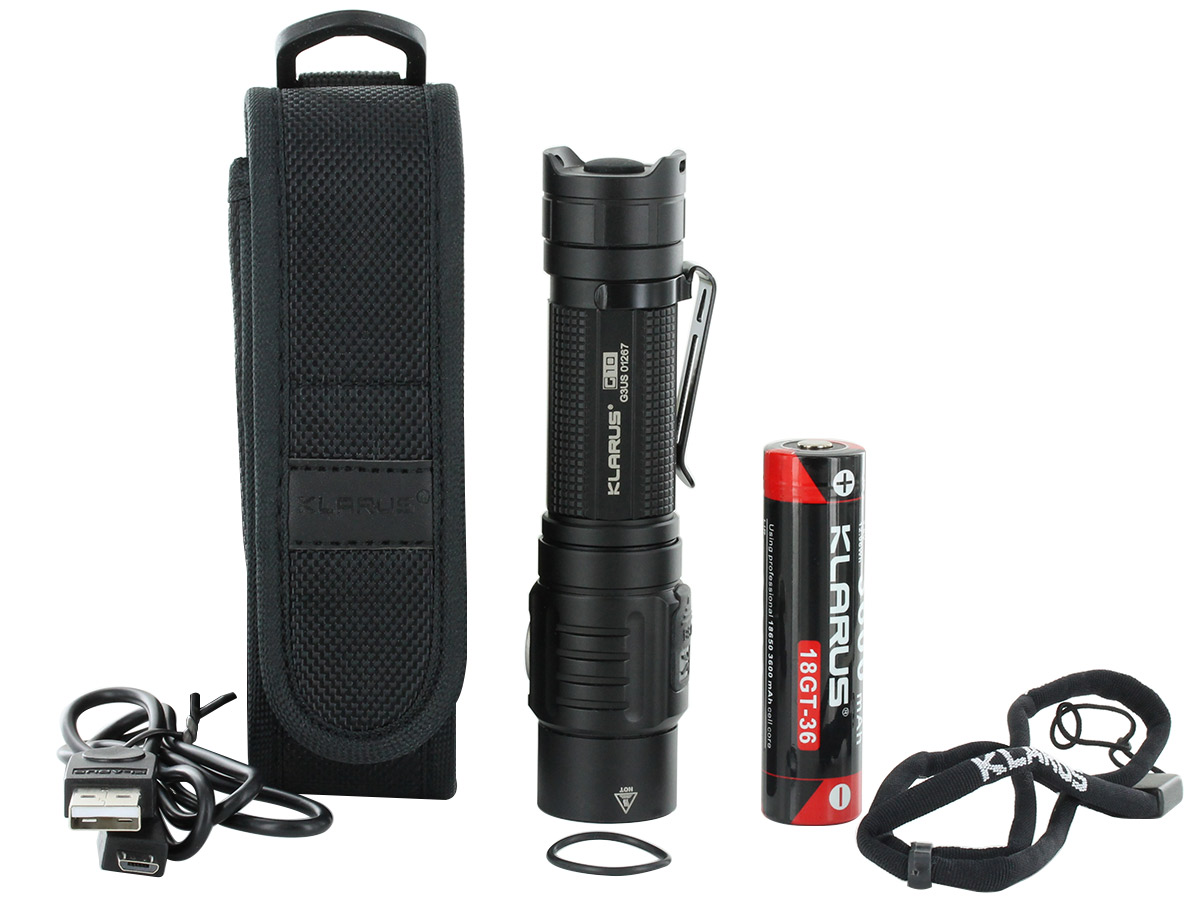 Klarus G10 Rechargeable Flashlight package contents