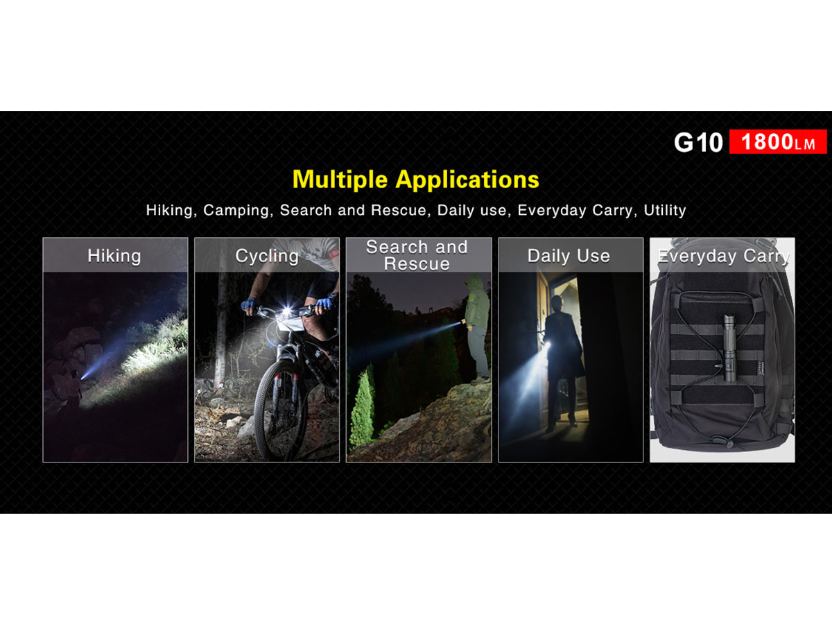 Klarus G10 Rechargeable Flashlight manufacturer's product slide with specifications