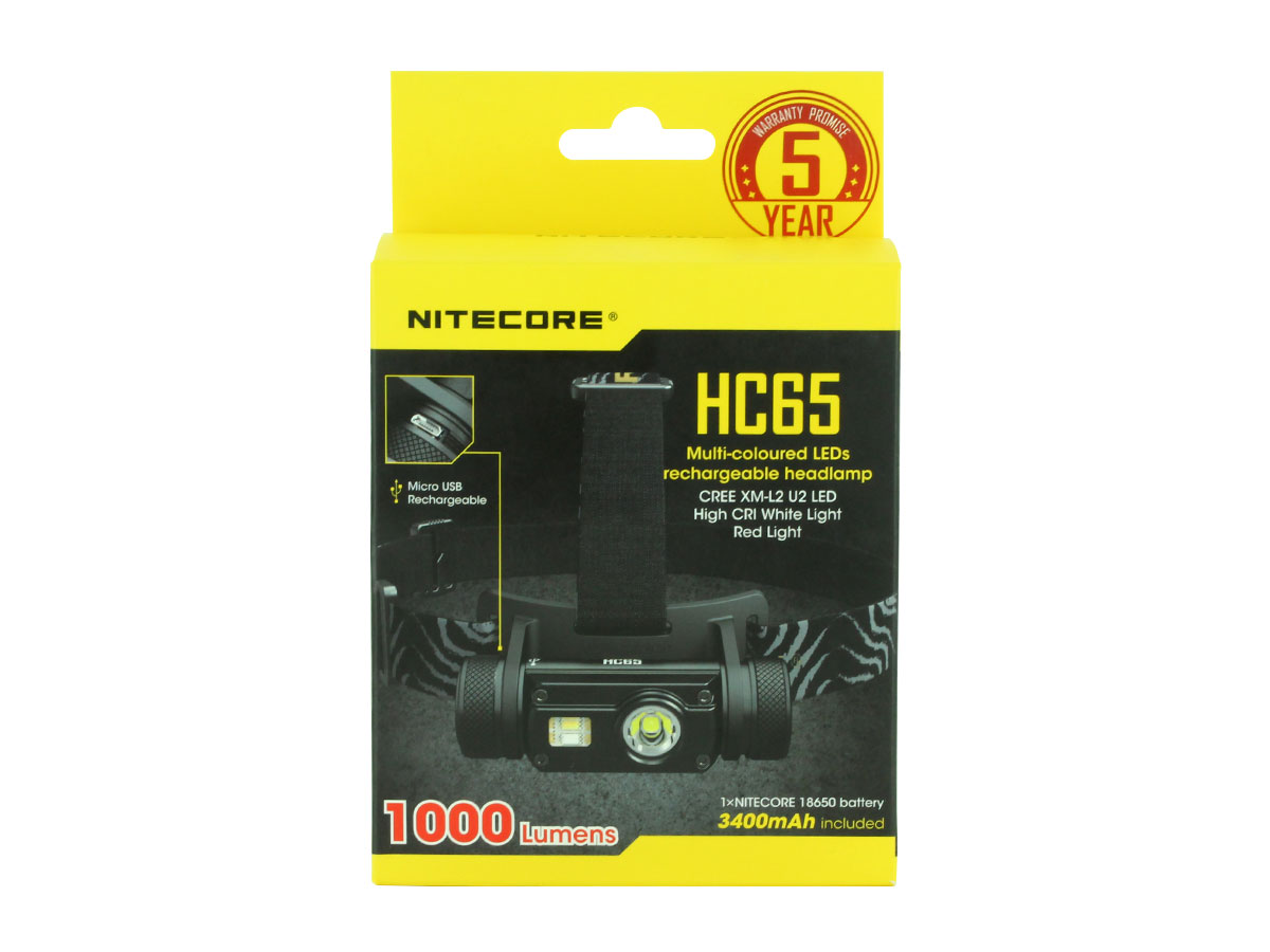 NITECORE HC65 retail box package, facing forward, bright yellow against black box, box on a white background