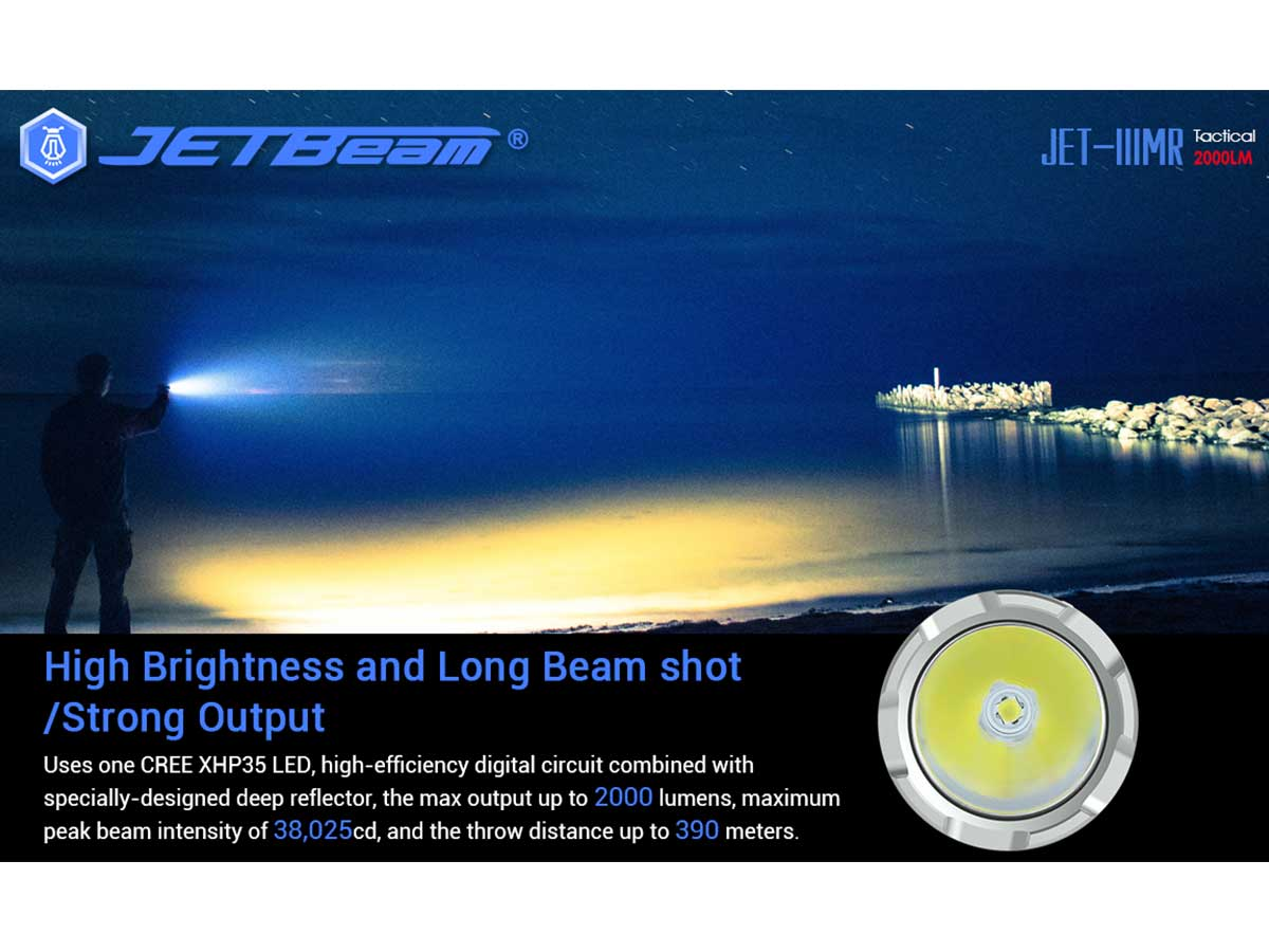 jetbeam jet iiimr flashlight manufacturer slide about the led and beam distance, lumen