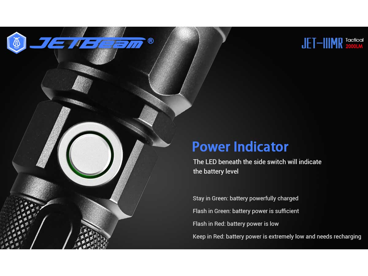 jetbeam jet iiimr flashlight manufacturer slide about power indicator integrated with the side switch