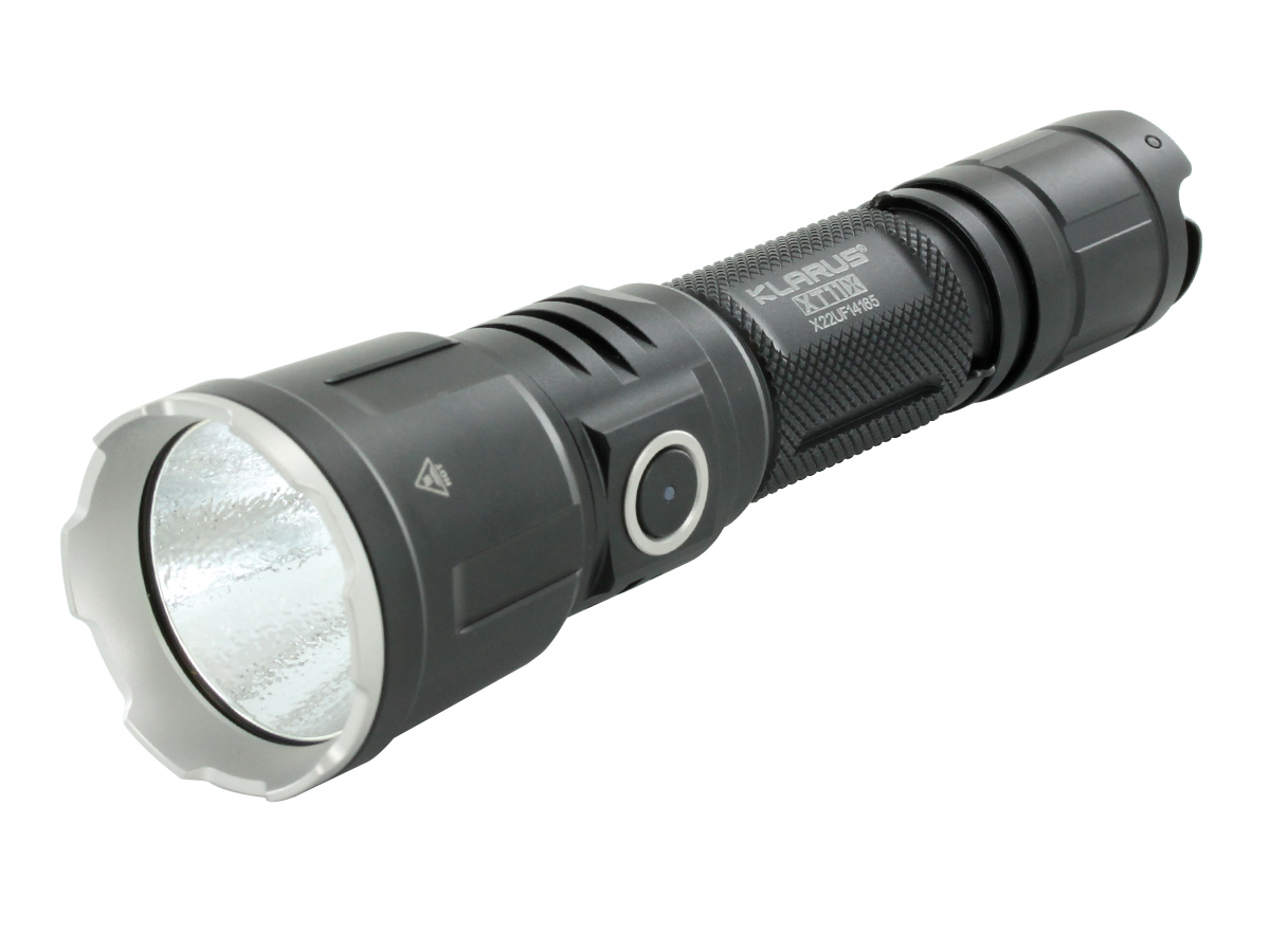Klarus XT11X Rechargeable LED Flashlight at an angle