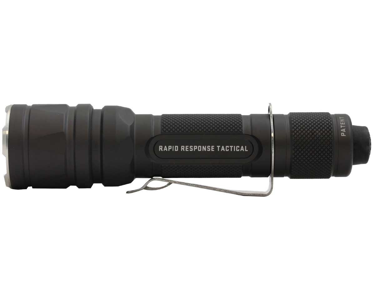 Side angle of the military flashlight