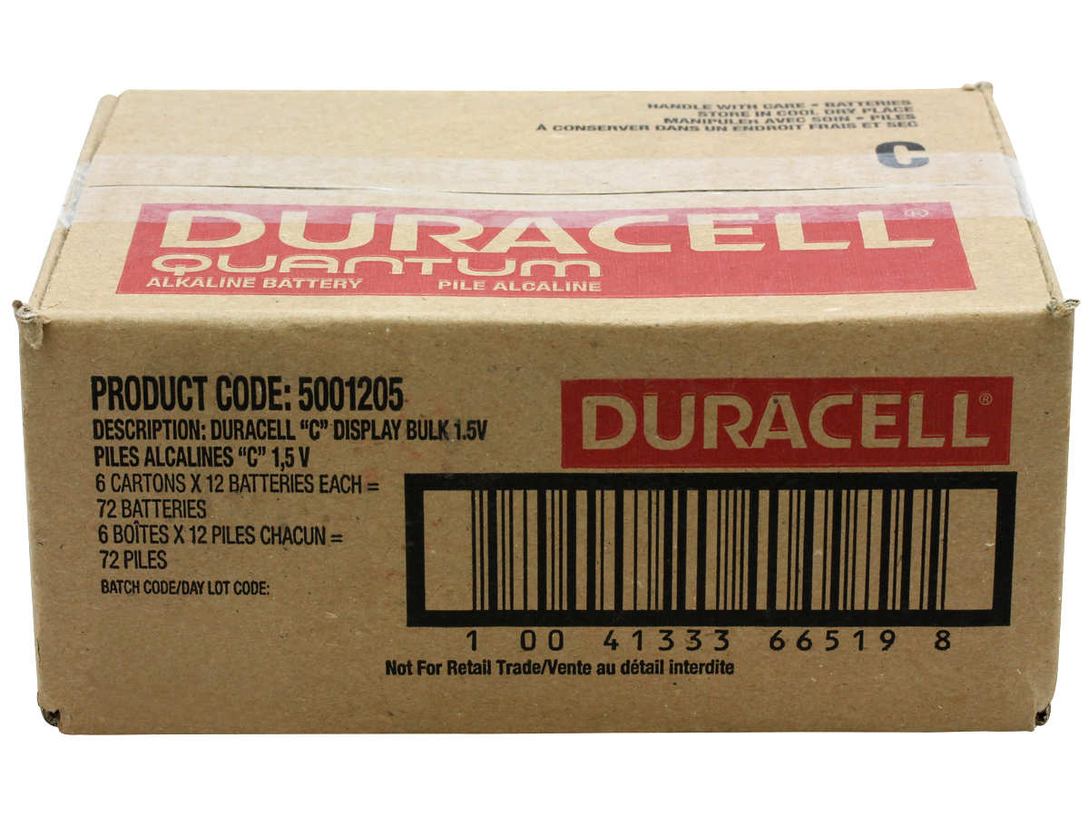 Closed Box of 72 Duracell Quantum QU1400 C Batteries