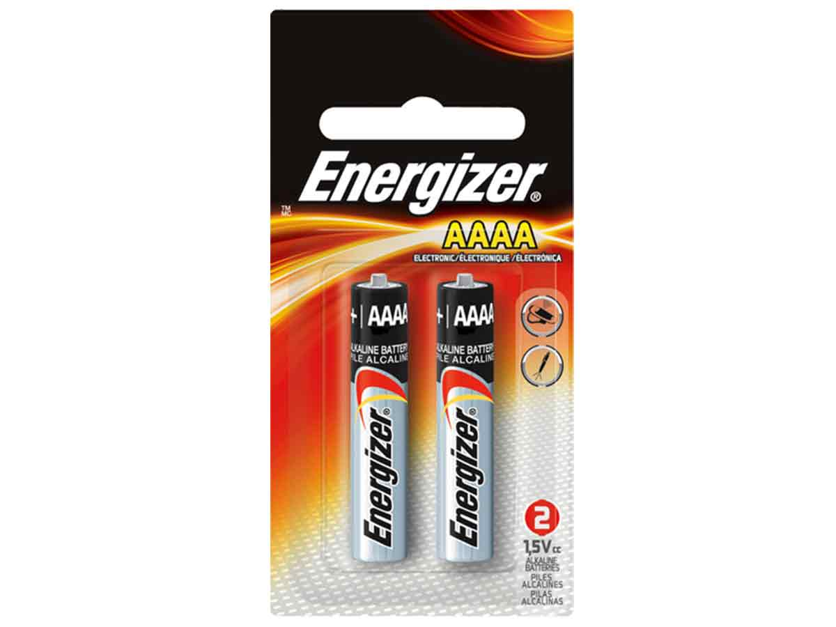 Energizer E96 AAAA batteries in 2 piece retail packaging