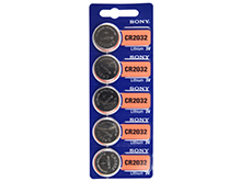 Sony CR2032 220mAh 3V Lithium Primary (LiMNO2) Coin Cell Batteries - 5-Piece Tear Strip