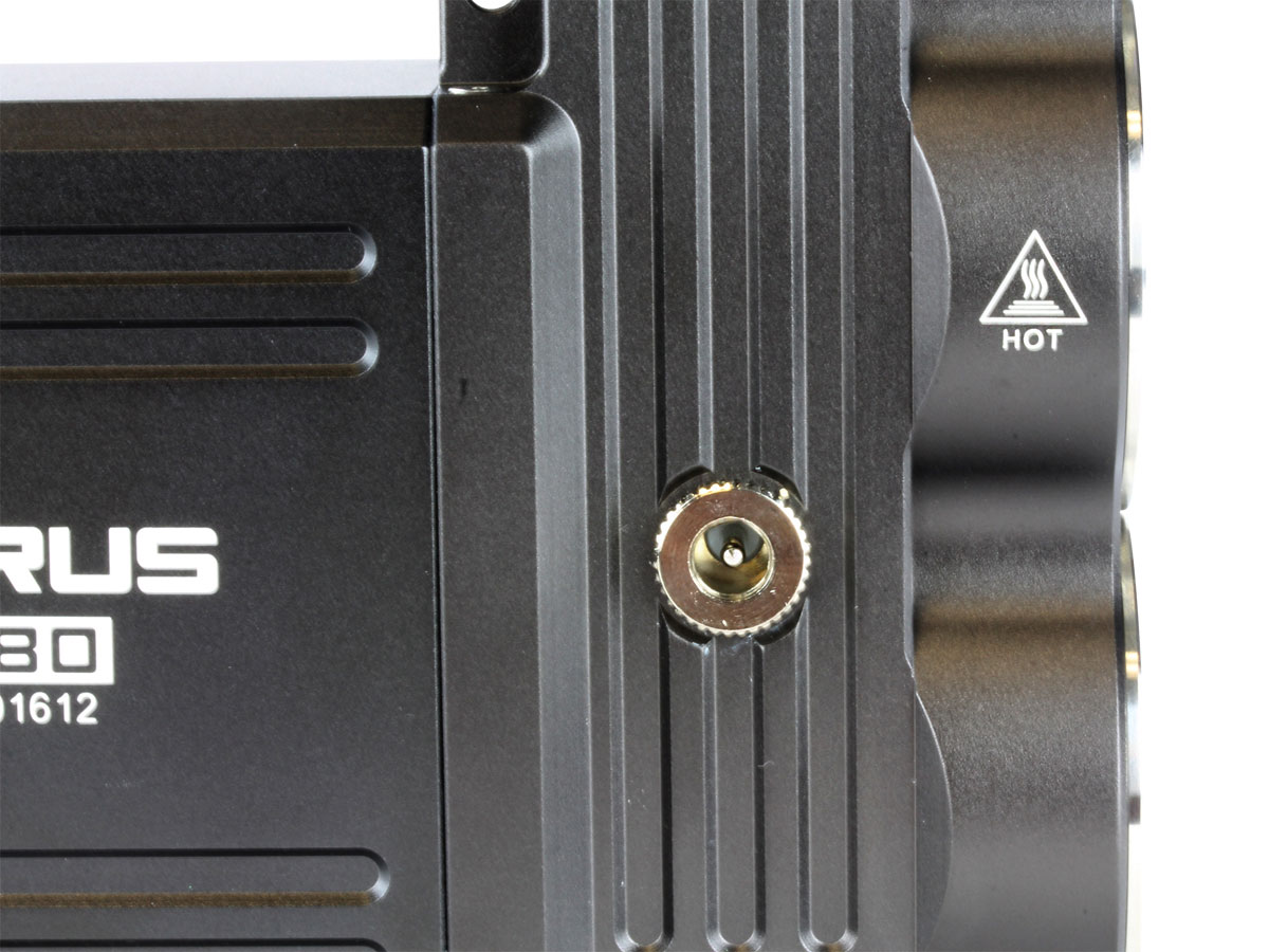 Close up of charging port on Klarus RS80