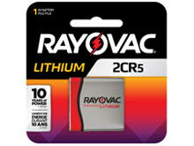 Rayovac Specialty RL 2CR5 1400mAh 6V Lithium (LiMNO2) Battery, Cap and Recessed Base - 1 Piece Retail Card