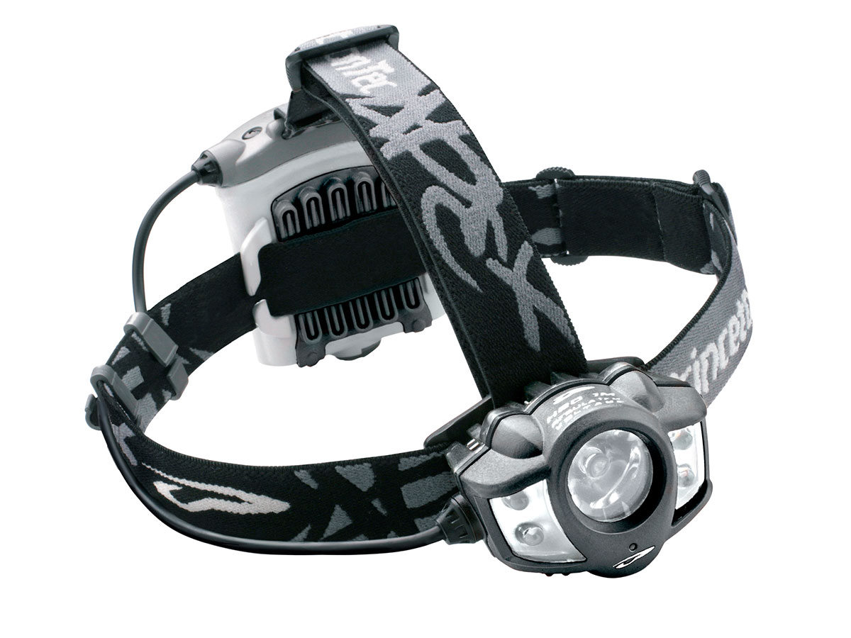 angled view of princeton tec apex headlamp black