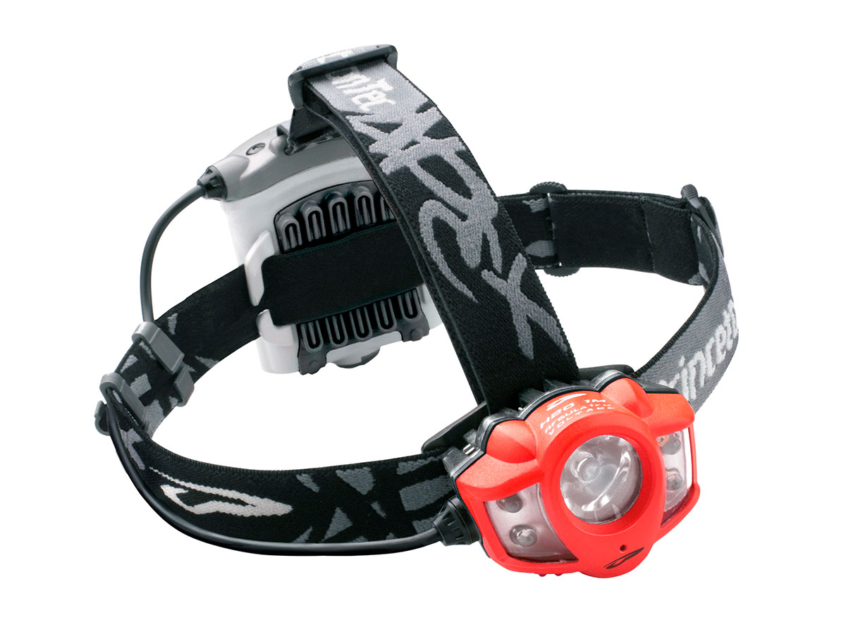 angled view of princeton tec apex headlamp red