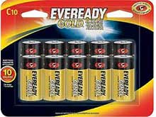 Energizer Eveready Gold C-cell 1.5V Alkaline Button Top Batteries - 10 Piece Retail Card (A93BP-10)