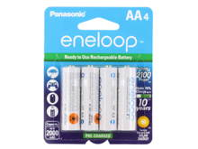 Panasonic Eneloop BK-3MCCA-4BA AA 2000mAh 1.2V Low Self Discharge Nickel Metal Hydride (NiMH) Button Top Batteries - 4 Pack Retail Card