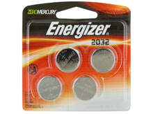 Energizer ECR2032-BP-4 240mAh 3V Lithium Primary (LiMNO2) Coin Cell Battery - 4 Piece Blister Pack