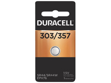 Duracell D303/357, 76A 165mAh 1.5V Silver Oxide Watch/Electronic Button Cell Battery (D303/357B) - 1 Piece Retail Card