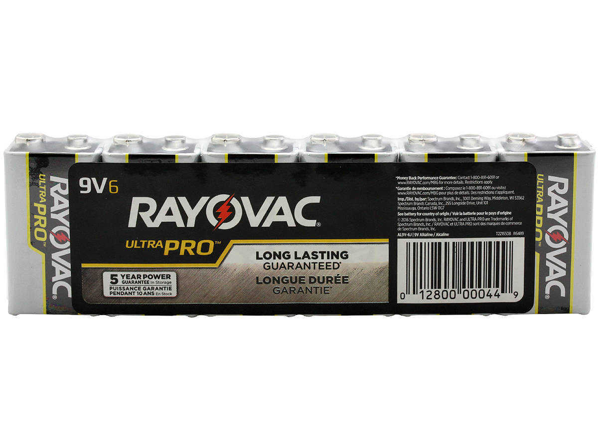 Package Shot of the 6-Pack Shrink Wrap of Rayovac 9V Ultra Pro Batteries