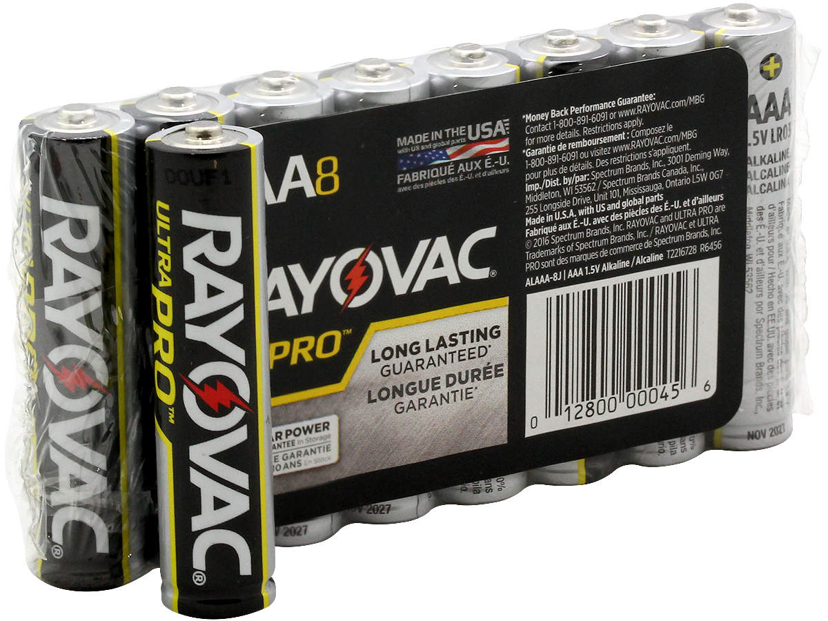 Package Shot of the 8-Pack Shrink Wrap of Rayovac AAA Ultra Pro Batteries