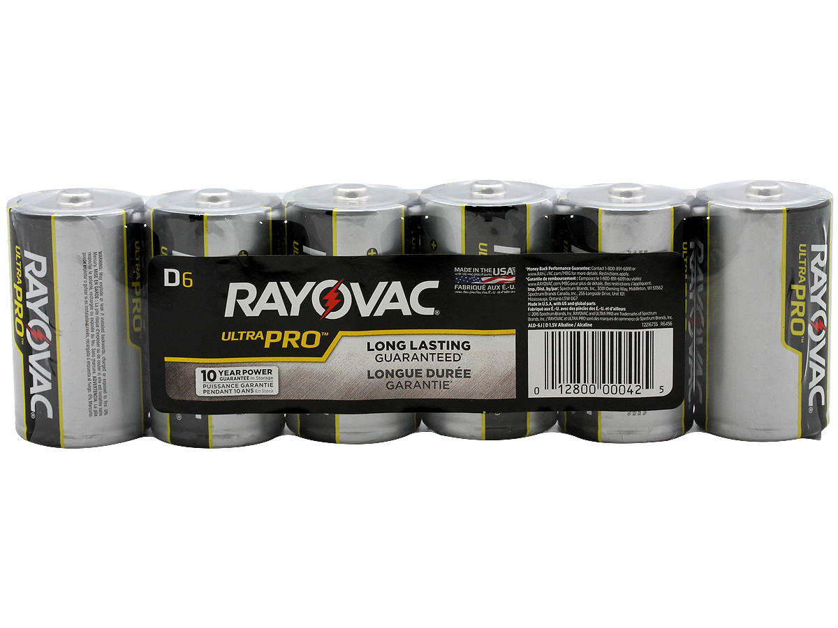 Package Shot of the 6-Pack Shrink Wrap of Rayovac D Ultra Pro Batteries