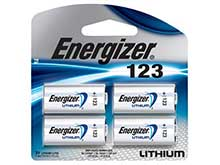 Energizer CR123A 1500mAh 3V Lithium Primary (LiMNO2) Button Top Photo Battery - 4 Piece Retail Card (EL123APBP4)