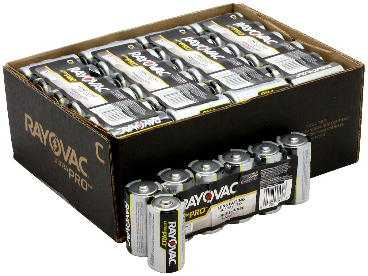 All Packaging Types for  the 6-Pack Shrink Wrap of Rayovac C Ultra Pro Batteries