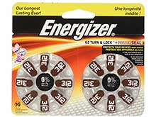 Energizer EZ Turn & Lock Size 312 160mAh 1.4V Zinc Air Hearing Aid Batteries - 16 Count Blister Pack - Mercury Free (AZ312DP16)