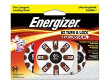 Energizer EZ Turn & Lock Size 312 160mAh 1.4V Zinc Air Hearing Aid Batteries - 24 Count Blister Pack - Mercury Free (AZ312DP24)