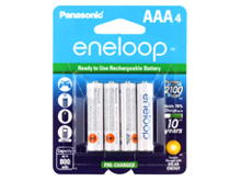Panasonic Eneloop BK-4MCCA-4BA AAA 800mAh 1.2V Low Self Discharge Nickel Metal Hydride (NiMH) Button Top Batteries - 4 Pack Retail Card