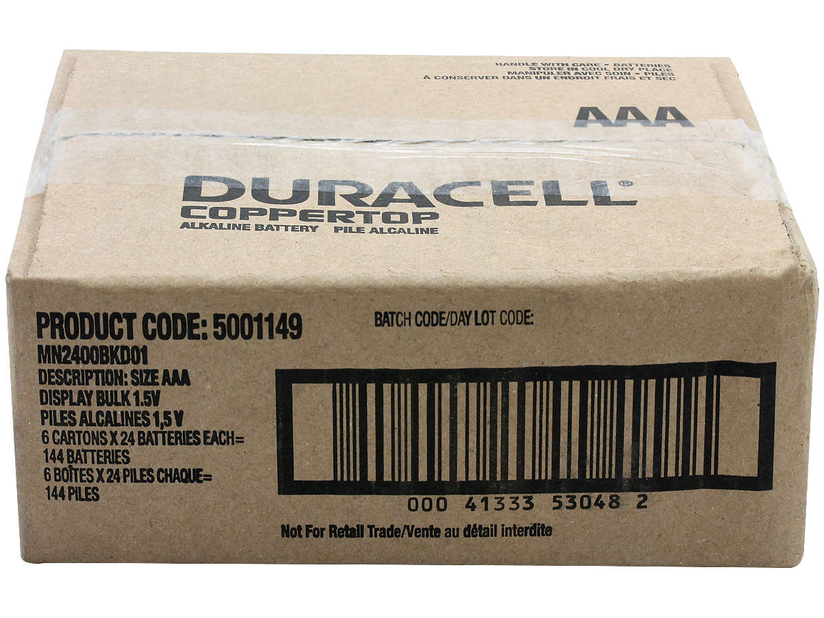 Box of 144 Duracell MN2400 AAA Batteries