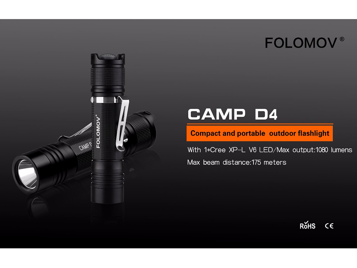 folomov manufacturer slide with main features for the d4 flashlight