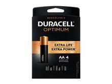 Duracell Optimum AA 1.5V Alkaline Button Top Batteries (OPT1500B4PRT) - 4 Piece Retail Card