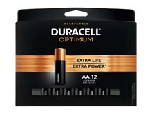 Duracell Optimum AA 1.5V Alkaline Button Top Batteries (OPT1500B12PRT) - 12 Piece Retail Card