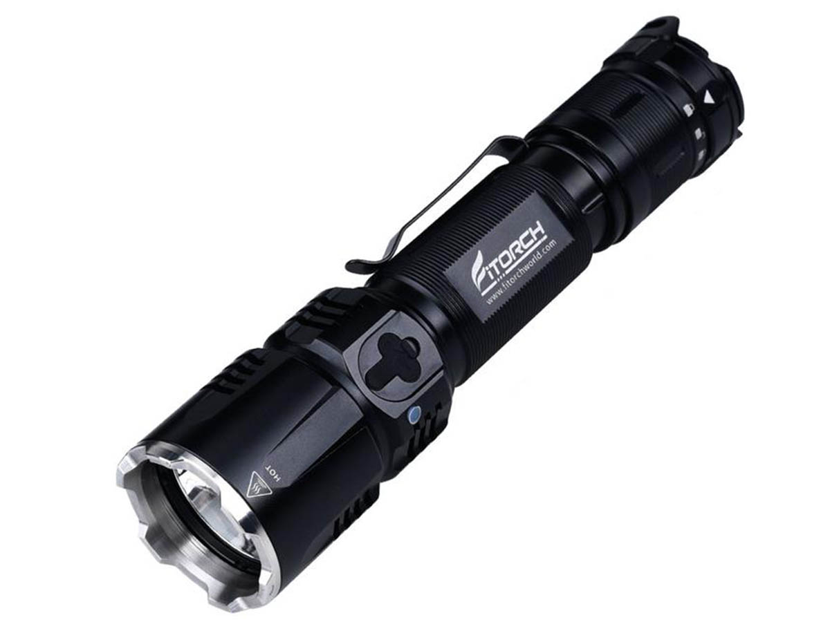 Fitorch MR26 flashlight left side angle
