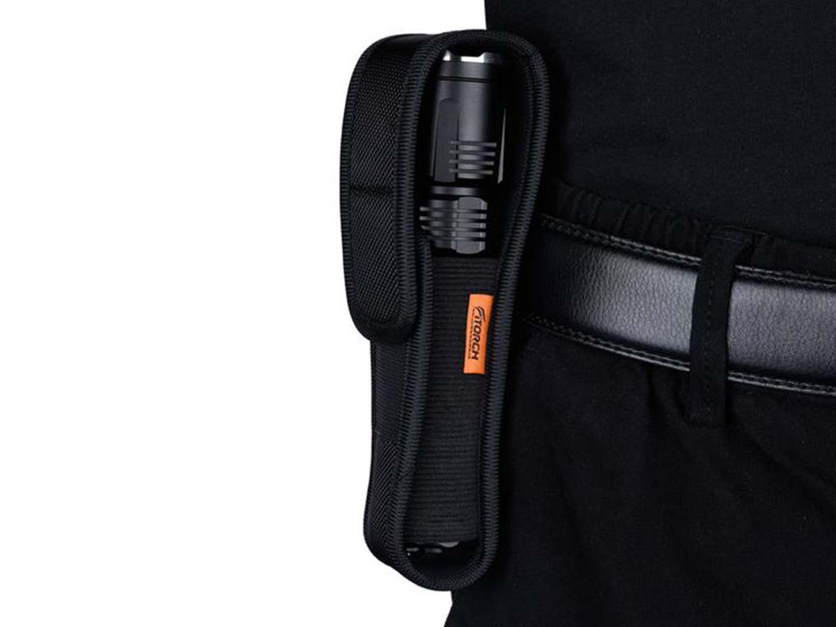 Fitorch MR26 flashlight in holster