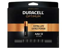 Duracell Optimum AAA 1.5V Alkaline Button Top Batteries (OPT2400B12PR) - 12 Piece Retail Card